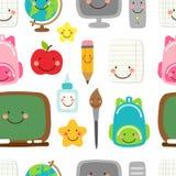 Милая ребяческая безшовная картина назад к школьным принадлежностям как усмехаясь персонажи из мультфильма Стоковые Изображения