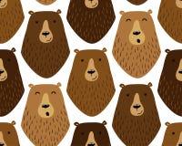 Милая ребяческая безшовная картина с смешной персонажами из мультфильма нарисованными рукой различных медведей Стоковые Фото