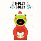 Милая рождественская открытка лягушки иллюстрация вектора