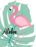 Милая розовая иллюстрация вектора предпосылки лета фламинго Стоковые Изображения