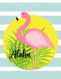 Милая розовая иллюстрация вектора предпосылки лета фламинго Стоковое фото RF