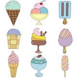 Милая рука нарисованная с разными видами мороженого Текстура Doodle с сладостными десертами Стоковое Изображение RF