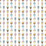Милая рука нарисованная с разными видами мороженого Текстура Doodle с сладостными десертами Стоковая Фотография