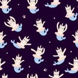 Милая русалка единорога кота Безшовная картина для печати на одеждах, случаях бесплатная иллюстрация