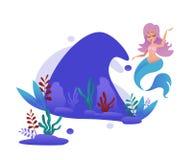 Милая русалка и подводный мир в волне - иллюстрации вектора мультфильма иллюстрация штока