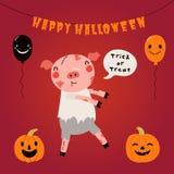 Милая свинья в костюме хеллоуина иллюстрация штока
