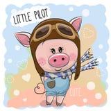 Милая свинья в пилотной шляпе бесплатная иллюстрация