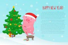 Милая свинья шаржа украшает рождественскую елку иллюстрация вектора