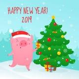Милая свинья шаржа украшает рождественскую елку бесплатная иллюстрация