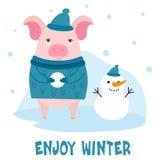 Милая свинья шаржа характера на предпосылке зимы Vector иллюстрация с текстом для карточки, открыткой, знаменем Стоковая Фотография