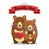 Милая семья медведей Медведь мамы медвежьи объятий папы и их младенец носят Хороший для дня отцов, дня матерей или дня рождения иллюстрация штока