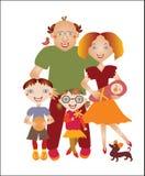 Милая семья шаржа Стоковые Фото