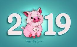 Милая смешная свинья счастливое Новый Год Китайский символ 2019 год иллюстрация штока