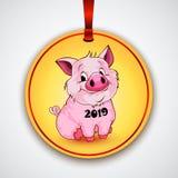 Милая смешная свинья счастливое Новый Год Китайский символ 2019 год стоковое изображение