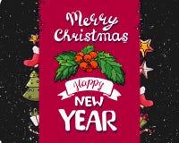 Милая смешная свинья счастливое Новый Год Китайский символ 2019 год Превосходная праздничная карточка подарка Иллюстрация вектора бесплатная иллюстрация