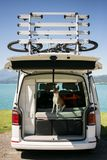 Милая собака сидит в хоботе располагаясь лагерем фургона стоковые фотографии rf