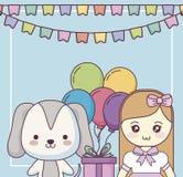 Милая собака с поздравительой открыткой ко дню рождения с днем рождений маленькой девочки иллюстрация вектора