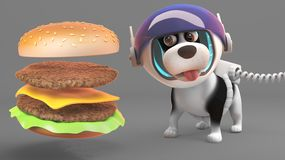 Милая собака щенка в космическом костюме смотрит голодно на гигантском чизбургере, иллюстрации 3d иллюстрация вектора