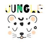 Милая сторона леопарда Вручите вычерченным джунглям животную сторону в скандинавском стиле Для печатей и дизайна моды детей Украш Стоковое Фото