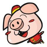 Милая счастливая свинья в костюме Китая иллюстрация штока