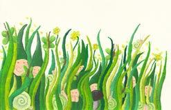 милая трава карликов вне засовывая иллюстрация вектора