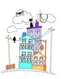 милая улица смотря печатание цвета иллюстрация штока