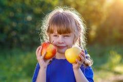 Милая усмехаясь маленькая девочка держа зрелые и сочные яблока на яркой и солнечной предпосылке лета стоковая фотография