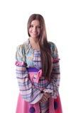 Милая усмешка девушки - традиционный русский costume Стоковые Фотографии RF