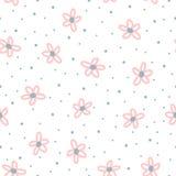 Милая флористическая безшовная картина для детей Повторенные цветки нарисованные вручную с грубой точкой щетки и польки Стоковое Фото