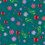 Милая флористическая безшовная картина с абстрактными цветком и заводами Красочная предпосылка для печатей стоковое изображение rf