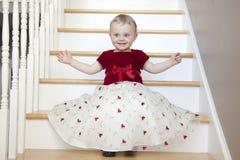 Милая девушка в платье партии Стоковые Фото