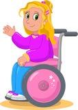 Милая девушка на кресло-коляске Стоковая Фотография