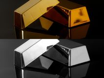 Миллиард золота и серебряные бары на черной предпосылке стоковая фотография rf
