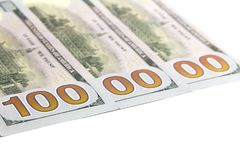 Миллион dolars 300 долларовых банкнот в США Белая предпосылка скопируйте космос изолировано Стоковое Изображение RF