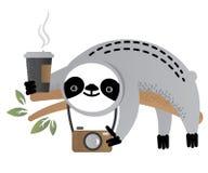 Милое животное медведя лени вектора с чашкой кофе и камерой Стоковое Изображение