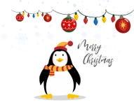 Милое знамя веселого рождества со смешным пингвином на белой иллюстрации вектора предпосылки иллюстрация штока