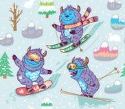 Милое катание на лыжах йети в картине горы безшовной также вектор иллюстрации притяжки corel иллюстрация штока