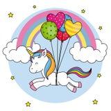 Милое летание единорога с воздушными шарами иллюстрация штока