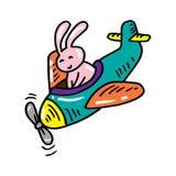 Милое летание кролика на самолете иллюстрация вектора