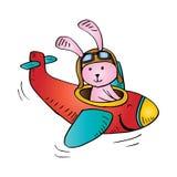 Милое летание кролика на самолете иллюстрация штока