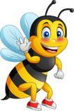 Милое летание мультфильма пчелы иллюстрация вектора