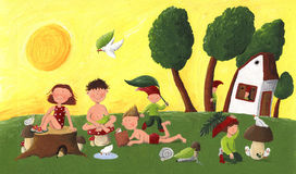 милое лето малышей карликов иллюстрация вектора