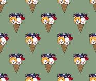 Милое мороженое цыпленка собаки кота на предпосылке зеленого чая также вектор иллюстрации притяжки corel бесплатная иллюстрация