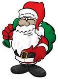Милое рождество Санта Клаус с иллюстрацией вектора мультфильма мешка игрушки стоковое фото rf