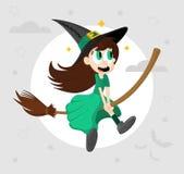 Милое смешное маленькое летание ведьмы на broomstick Иллюстрация вектора мультфильма хеллоуина Элемент для дизайна, печати и авто иллюстрация штока