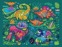 Милое собрание динозавров мамы и младенца и тропических заводов в декоративном стиле r иллюстрация штока