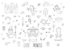 Милое собрание принцессы шаржа Сказка Doodle установленная для детей Нарисованная рукой иллюстрация вектора изолированная на бели иллюстрация вектора