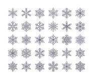 Милое собрание снежинок изолированное на белой предпосылке Плоская линия значки снега, снег шелушится силуэт Славный элемент для Бесплатная Иллюстрация