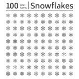 Милое собрание снежинок изолированное на белой предпосылке Плоская линия значки снега связывает, идет снег силуэт хлопьев славно иллюстрация вектора