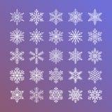 Милое собрание снежинок изолированное на предпосылке градиента Плоская линия значки снега, снег шелушится силуэт Славный элемент Бесплатная Иллюстрация